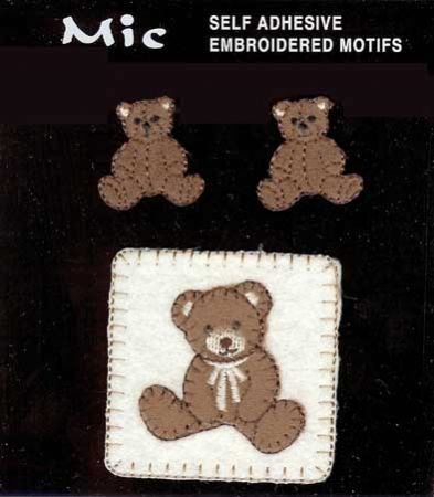 3 Self Adhesive Embroidered Teddy Bear Motifs